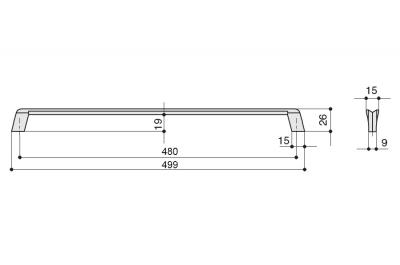 8.1134.0480.35 Ручка-скоба 480мм, отделка никель глянец шлифованный