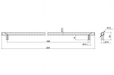 8.1149.0160.34-33 Ручка-скоба 160мм, отделка никель глянец шлифованный