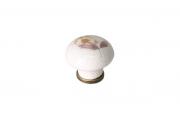 "818.CV/03.def Ручка-кнопка, отделка бронза античная + керамика ""коричневый цветок"""