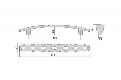 WMN.823X.128.M00E8 Ручка-скоба 128мм, отделка старое серебро с блеском
