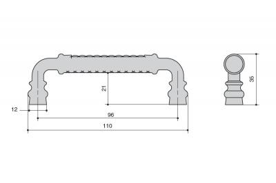 WMN.825X.096.M00V7 Ручка-скоба 96мм, отделка молочная с золотой патиной