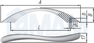 UN8308/96 Ручка-скоба 96мм хром матовый