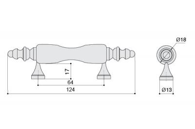 "836.CV/03.def Ручка-скоба 64мм, отделка бронза античная + керамика ""коричневый цветок"""