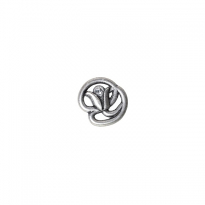 Ручка-кнопка, отделка старое серебро с блеском + горный хрусталь WPO.672Y.000.MKRE8