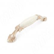 WMN.84.01.00.096.V5 Ручка-скоба 96мм cлоновая кость/золото винтаж керамика молочная