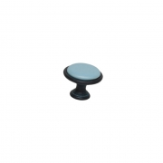 Ручка-кнопка, отделка железо чернёное с лазуритом + керамика голубая P07.15.00.44
