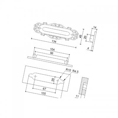 Ручка врезная 96мм, отделка серебро старое 15258Z13400.25