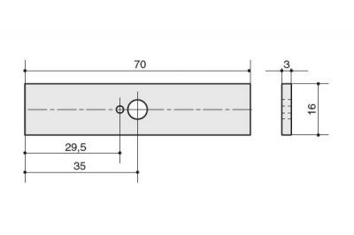 SY8772P 0008 CR Ответная часть для ручки 8772, отделка хром глянец