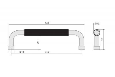 SY8871 0128 AL6 Ручка-скоба 128мм, отделка черный матовый
