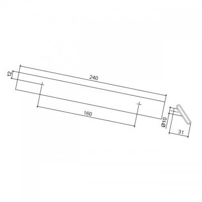 Ручка-скоба 160мм, отделка хром глянец + белый пластик 217.689-2010/9603