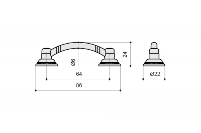 MC 9.1297.0064.23 Ручка-скоба 64мм, бронза античная красная 9.1297.0064.23