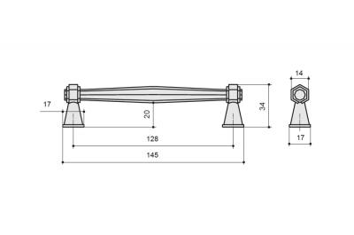 9.1342.0128.50 Ручка-скоба 128мм, отделка железо античное черное