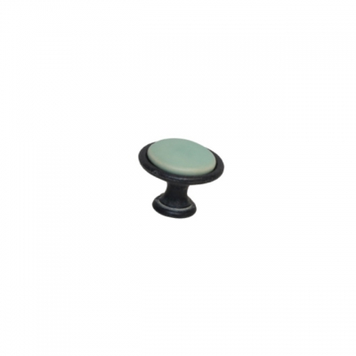 Ручка-кнопка, отделка железо чернёное c декапе + керамика зеленая (1 винт М4х22.5 + 1 винт М4х25) P07.14.00.12.M