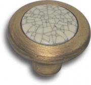 """9831-805 Ручка кнопка керамика с серой """"паутинкой"""", античная бронза"""