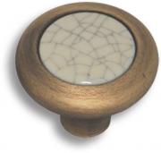 """9832-805 Ручка кнопка керамика с серой """"паутинкой"""", античная бронза"""