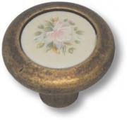 9852-831 Ручка кнопка керамика с цветочным орнаментом, старая бронза