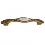Ручка-скоба 128мм, отделка бронза античная красная + вставка 9.1350.0128.25-102