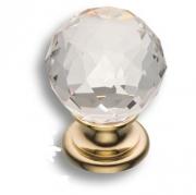 9991-100 Ручка кнопка с кристаллом, глянцевое золото