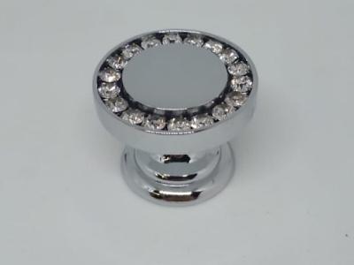 0776-005 Ручка кнопка, латунь с кристаллами Swarovski, глянцевый хром