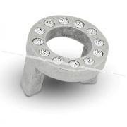 CENTER Ручка-кнопка 32мм серебро состаренное с кристаллами Сваровски CNT.32K.AA