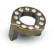 CENTER Ручка-кнопка 32мм бронза состаренная с кристаллами Сваровски CNT.32K.OL