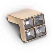 Ручка-кнопка с кристаллами, 18мм, хром 24*24*22 CRL01 BA
