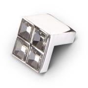 Ручка-кнопка с кристаллами, 18мм, хром 24*24*22 CRL01