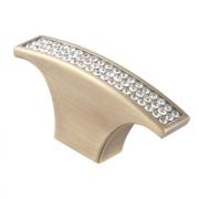 Ручка-кнопка с кристаллами, бронза, 64*15*30 CRL07 BA