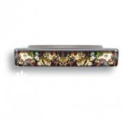 EF269607 Ручка скоба разноцветное муранское стекло, глянцевый хром 96 мм