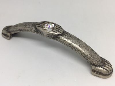 Ручка-скоба 96мм, отделка серебро античное + горный хрусталь 9.1302.0096.17