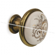 Ручка-кнопка D28мм бронза состаренная/керамика золотые узоры GP19-11AB/MLK