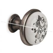 Ручка-кнопка D28мм серебро состаренное/керамика серебряные узоры GP19-12GA/WHT