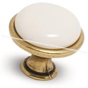 Ручка-кнопка D28мм бронза состаренная/керамика GP190AB/MLK