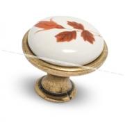 Ручка-кнопка D28мм бронза состаренная/керамика осенний цветок GP192AB/MLK