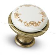 Ручка-кнопка D28мм бронза состаренная/керамика золотые узоры GP193AB/MLK