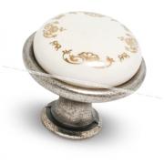 Ручка-кнопка D28мм серебро состаренное/керамика золотые узоры GP193GA/MLK