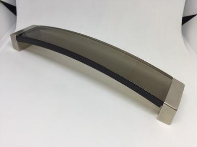 Ручка-скоба 160мм, отделка хром матовый + транспарент коричневый 8.1062.0160.45-106
