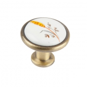 "Ручка-кнопка с фарфором ""Колосок"", бронза KF02-02 BA"