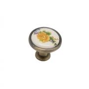 Ручка-кнопка с фарфором, бронза KF02-06 BA
