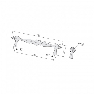 Ручка-скоба 128мм, отделка серебро старое M331.128.RAS