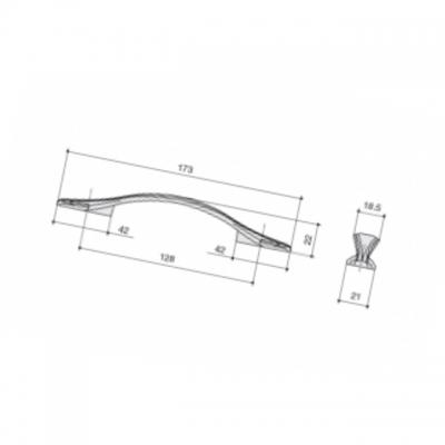 Ручка-скоба 128мм, отделка слоновая кость + золото M311.128.white+gold