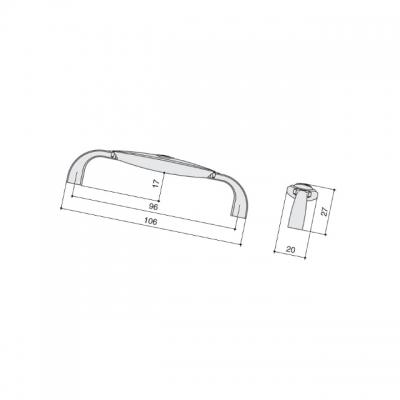 Ручка-скоба 96мм, отделка хром глянец + вставка 1898-106ZN1A4