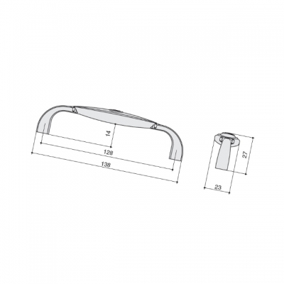 Ручка-скоба 128мм, отделка хром глянец + вставка 1898-138ZN1A4