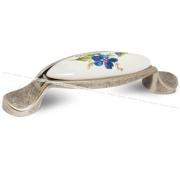Ручка-скоба 96мм серебро состаренное/керамика фиалка M16.01.186.15