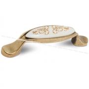 Ручка-скоба 96мм бронза состаренная/керамика золотые узоры M16.01.187.02