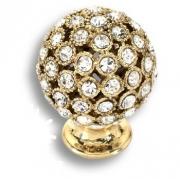 MOB 472 26 SWA 19 Ручка кнопка с кристаллами Swarovski цвет-глянцевое золото