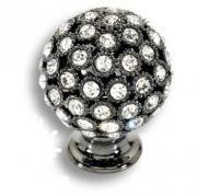 MOB 472 26 SWA CF Ручка кнопка с кристаллами Swarovski цвет - чёрный глянец