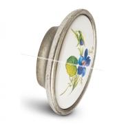 Ручка-кнопка серебро состаренное/керамика фиалка P18.01.186.15