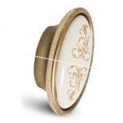 Ручка-кнопка бронза состаренная/керамика золотые узоры P18.01.187.02