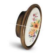 Ручка-кнопка бронза патинированная/керамика мат. лилия P18.02.113.01